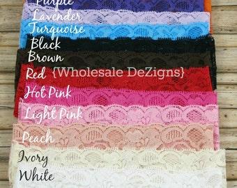 "Lace Elastic Headbands - 2"" Wholesale Headbands Your Choice - Stretch Headbands"