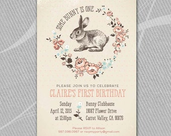 SOME BUNNY is ONE - Birthday Party - Printable  //  Rustic Pink