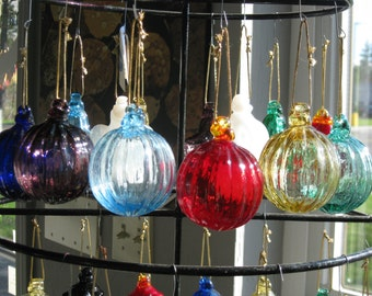 Mold Blown glass ornament Ribbed