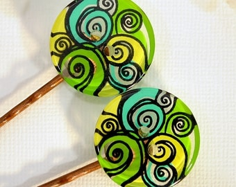 Green Bobbies - Summer Bobby Pins - Pair of Colorful Bobbies