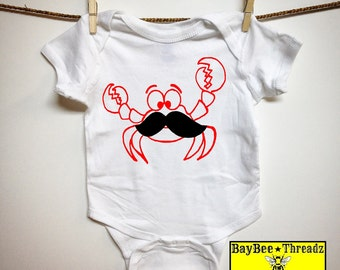 Baby Clothes. Crab with Mustache. 8 colors. baby romper onezee bodysuit creeper one piece. baby announcement. baby shower gift. Baltimore
