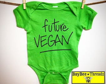 Baby Clothes. future VEGAN. 8 colors.baby romper  bodysuit creeper one piece. Veggies. Vegetarian. vegan lover. baby shower gift. announce