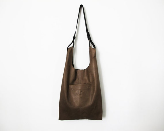 Olive gray leather bag Leather tote bags SALE everyday bag