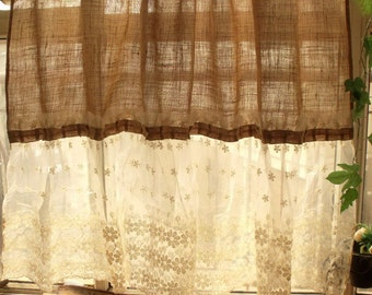 Custom Shabby French Country Chic ~ Burlap Curtain Panel Cream Lace Ruffles SWEET!
