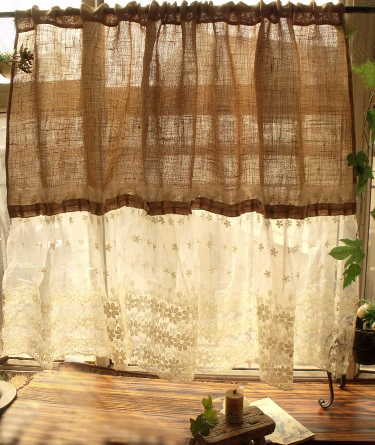 custom shabby french country chic burlap curtain panel cream. Black Bedroom Furniture Sets. Home Design Ideas
