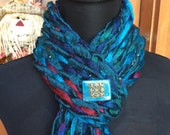 Southwest Turquoise Chunky Handwoven Scarf