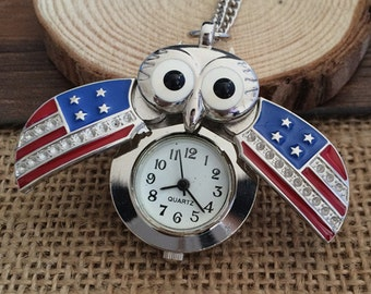 1pcs 20mmx30mm Owl  pocket watch charms pendant PP10