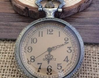 1pcs Bronze color Glass cover  pocket watch charms pendant  45mm