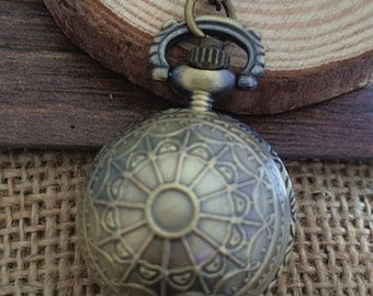 1pcs 26mmx26mm bronze color Ball Locket pocket watch charms pendant  SZ0162