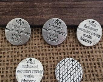 On Sale 100pieces 14mm Antique Silver Round  charm L406