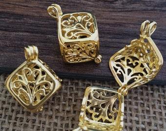 4pcs 13x13x13mm Gold copper Square  Locket   wish box charms pendant