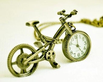 1pcs bronze bicycle pocket watch charms pendant