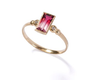Unique engagement ring , Tourmaline engagement ring ,14k gold and engagement ring,diamond ring, Turmaline ring