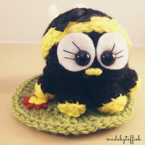Maya the bee, amigurumi miniture crochet animal bug comes in a plain box