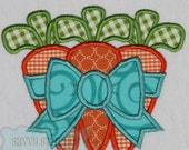 Carrot Bunch Bow Machine Embroidery Applique Design
