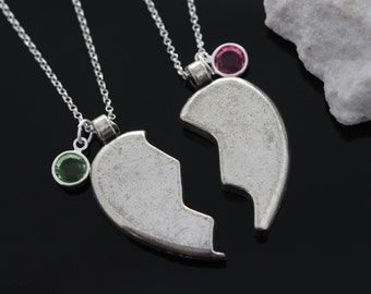 Personalized silver plated Friendship Heart necklaces with Birthstone On Sterling Silver chain, Birthstone Heart Necklaces.