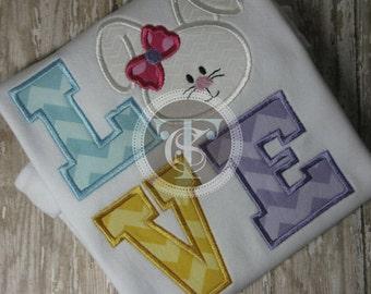 Easter Bunny LOVE Shirt - Easter Bunny Shirt - Easter LOVE Bunny - Girls Easter Shirt