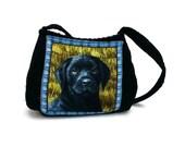 Black Lab Bag, Corduroy Purse, Cute Puppy Purse, Dog Purse, Black Labrador, Lab lover gift, blue black purse, caroljoyfashions CJF6