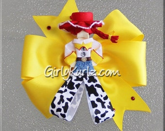 Jessie Hair Bow, Toy Story Ribbon Sculpture Hair Clip, Cowgirl Hair Clip, Jessie Hair Bow, Toy Story Hair Bow