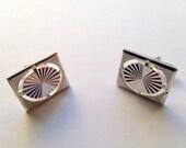 Swank Midcentury Modern Square Cufflinks Vintage Silvertone