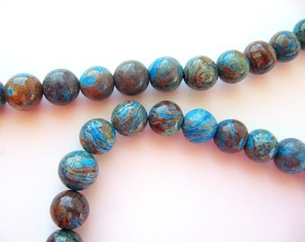 Blue Sky Jasper 8mm Stone Beads Round Natural Full Strand Turquoise Blue Brown Wholesale Jewelry Supply CrazyCoolStuff