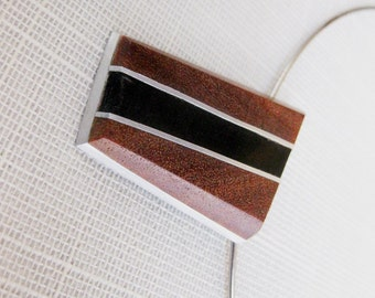 Modernist necklace, Exotic wood and buffalo horn necklace, teak necklace,abstract pendant, art,  modernist