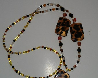 Beaded Lanyard, Beaded ID Badge Holder, Beaded ID Tag Holder Lanyard, Animal Print Lanyard Jewellery Lanyard, Gift for Her, Office Jewellery