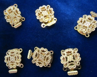 6 pcs vintage filigree box clasps, gold coloured 2 strand clasp, UNUSED; wedding jewelry supply for necklace or bracelet