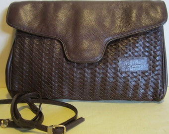 Vintage Italian brown leather evening bag, clutch, Valentino Orlandi, Italy; vg condition
