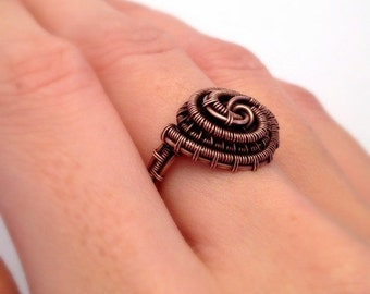 Copper Wire Wrapped Ring | Wire Weaved Copper Rings | Antique Copper Ring | Jewellery UK