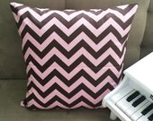 Pink Brown Chevron Decorative Pillow Cover