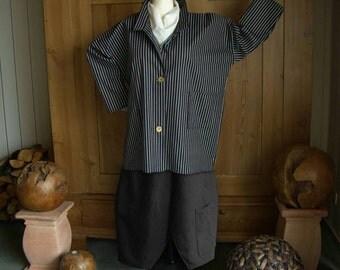 Plus sizes - US 18 - 34, UK 20 - 36 Layered-look fantastic plus size denim jacket, black-white