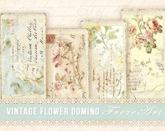 Vintage flower domino images Printable digital domino on Digital collage sheet Vintage images Shabby domino