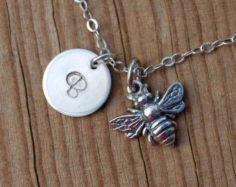 Tiny bee necklace, sterling silver bee necklace, bee necklace, initial necklace, busy bee, bee and initial necklace, gift