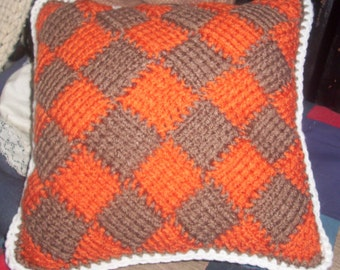 Pillow Crochet HANDMADE, Tunisian Entrelac Crochet in Orange and Mocha Brown,  Home Decor, Home and Living,
