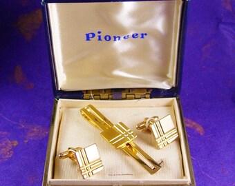 Vintage Gold Cufflinks Tie Clip Set Pioneer wedding gift for groom ENGRAVABLE Tie bar