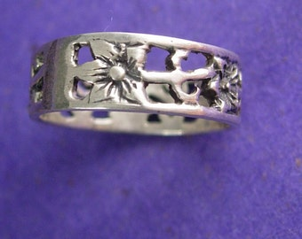 Art Nouveau Ring Sterling Silver Vintage Floral Wedding Band Flower Promise Ring Decorative Women's Jewelry