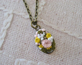 Embroidery pendant, Pink Rose and floral embroidery, Ready Made