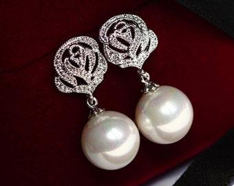 Swarovski 8mm Round Pearl Earrings Drop Dangle Earrings Silver Flower Earrings Wedding Jewelry Bridesmaid Gift Bridal Earrings