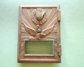 Vintage Brass Eagle Starburst Mail Box Door Combination No Glass Nice Art Craft Supply for a Wooden Bank