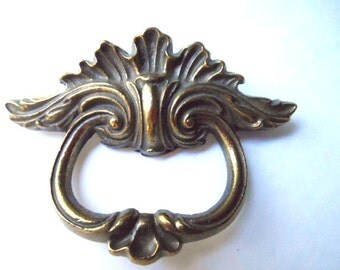 Vintage Brass Colored Heavy Metal Cabinet Door Dresser Furniture Pull Handle 2 Inches On Center With Screws Restoration Hardware Salvage