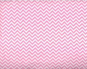 Chic Chevron Flannel Fabric - pink and white zig zags - David Textiles Dreamland Flannel Basics - by the YARD