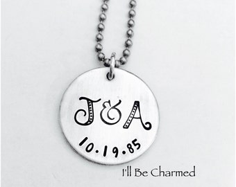 Hand Stamped, Mom Necklace, Gifts for Mom, Personalized Jewelry, Initial Jewelry, Name Jewelry, Date, Necklace, Love, Handmade Jewelry