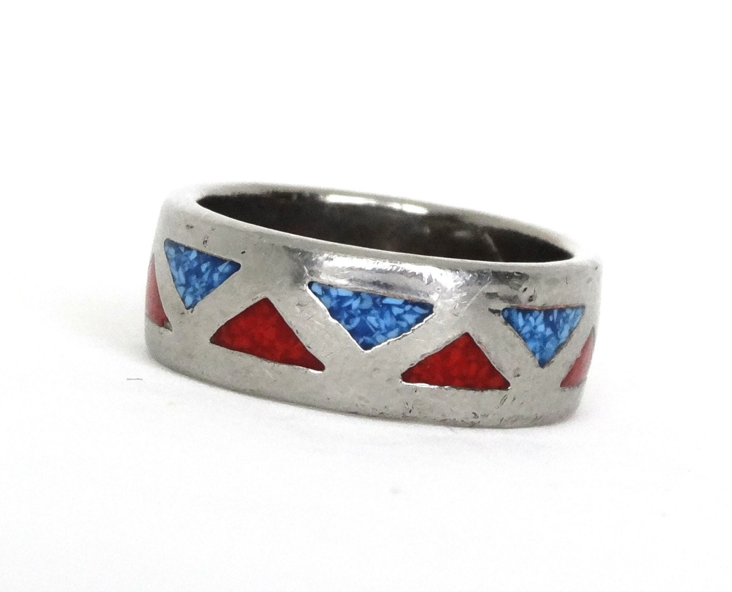 Vintage Mens Ring Turquoise And Coral Inlay Sterling Silver