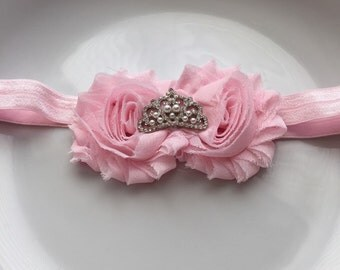 Pink Color Shabby Chiffon Fabric Flower Headband, Girl Headband, Baby Girl Headband, Infant Girl Headband, Newborn Girl Headband