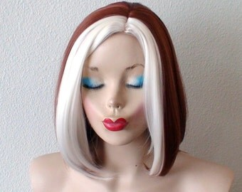 Cosplay wig. Copper red / White hair wig. White bangs wig. Durable heat friendly synthetic wig for Cosplay or daily use.