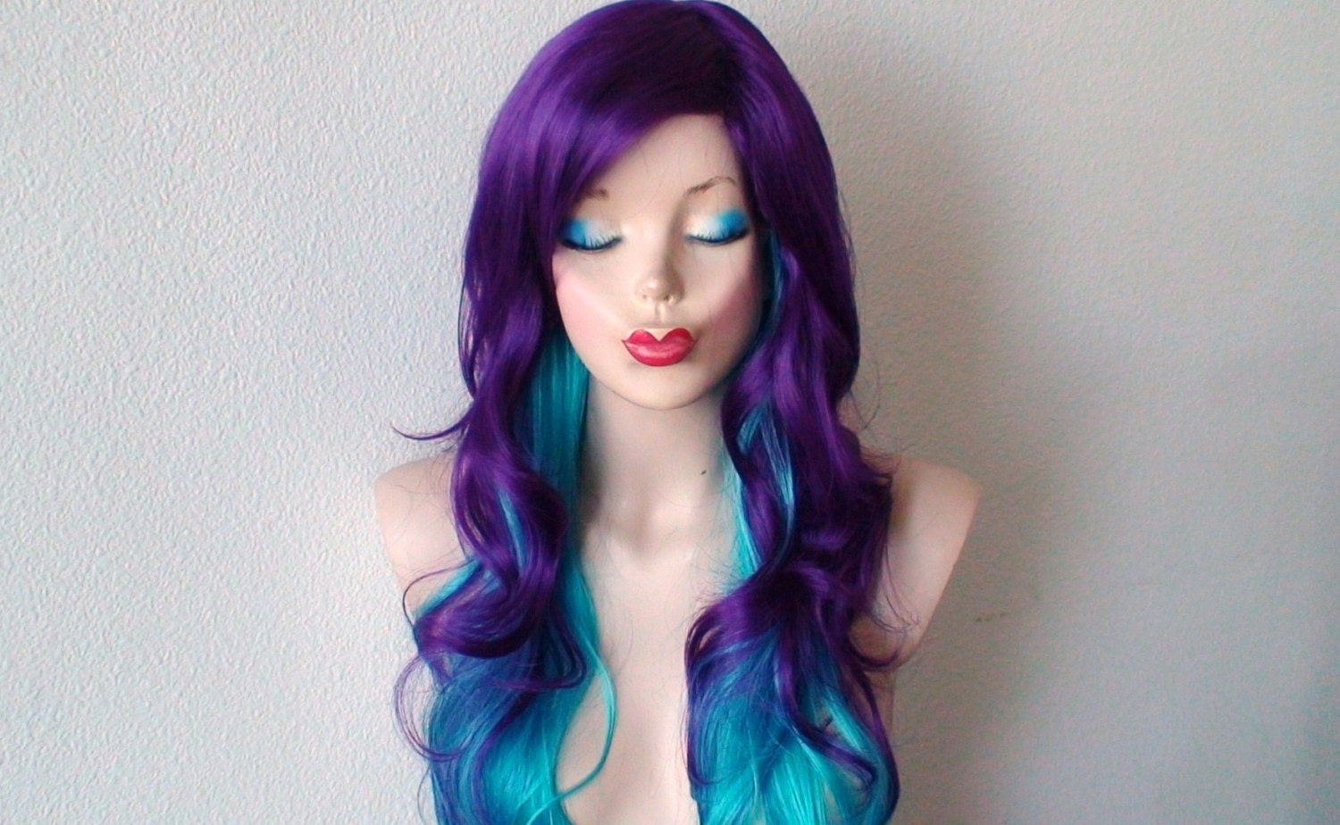 Deep Purple Teal Blue Ombre Wig Long Curly Hair Purple Blue