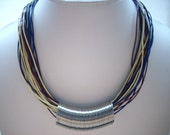 Navy Blue Pale Yellow and Burgundy 1mm Multi Strand Leather Necklace with Silver Memory Wire Centre