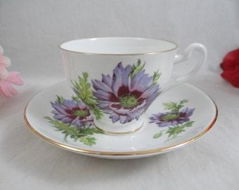 Vintage English Bone China Teacup English Teacup and Saucer Colorful Violet Wildflowers English Tea cup