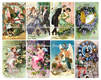New Year Download  Vintage New Year Postcard Digital Download